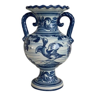 20th Century Glazed Earthenware Spanish Blue and White Painted Urn, Vase For Sale