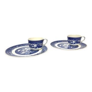 Willow Ware Luncheon Plate With Cup - Set of 2 For Sale
