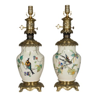 White Painted Bird Motif Bronze Mounted Sevres Ceramic Lamps - a Pair For Sale
