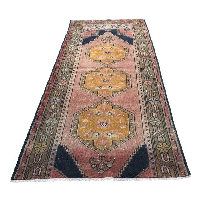 Vintage Turkish Oushak Geometric Design Handmade Runner Rug - 3′6″ × 7′10″ For Sale