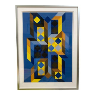 "Victor Vasarely 1969 ""Trimidor"" Framed and Signed in the Plate Lithograph For Sale"