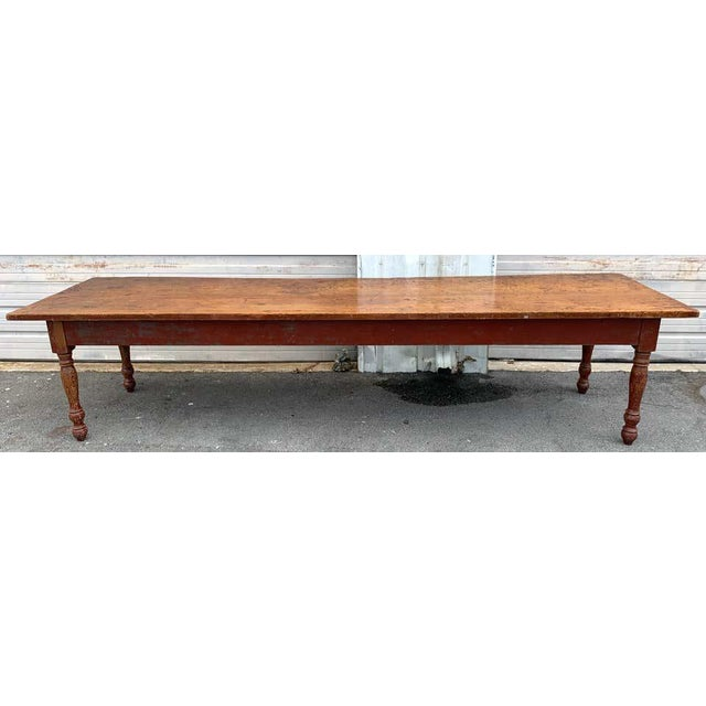 Rustic Late 19th Century Southern Red Paint and Chestnut Farm Table For Sale - Image 3 of 13
