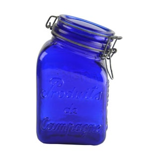 Cobalt Blue Glass Canister For Sale