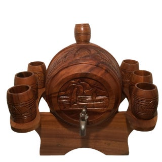 Tiki Styled Hand Carved Banana Wood Cocktail Dispenser, Stand, and 6 Cups - 9 Piece