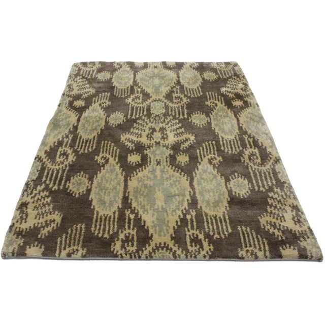 "Boho Chic Modern Ikat Rug - 3' x 4'11"" For Sale - Image 3 of 3"