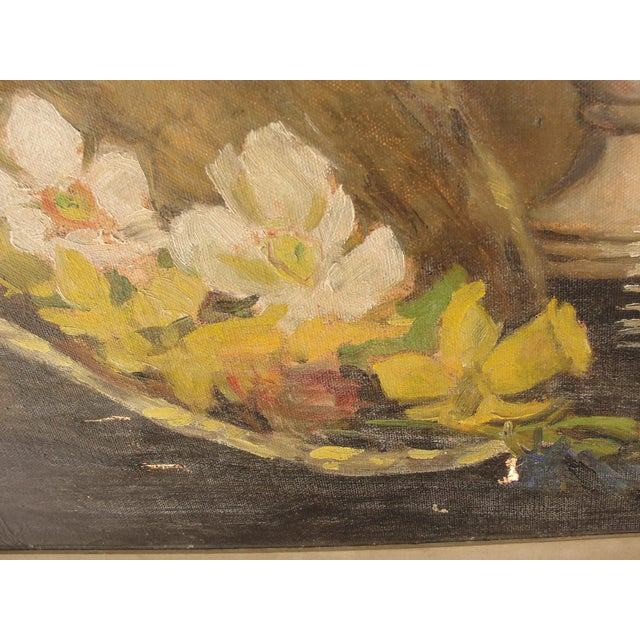 Yellow Mid-Century Modern Oil on Canvas Still Life For Sale - Image 8 of 10