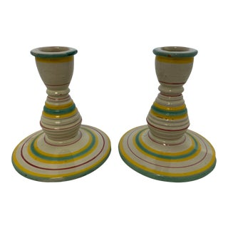 Mid 20th Century Striped Candle Holders- a Pair For Sale