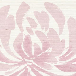 Schumacher Hana Sisal Wallpaper in Pink For Sale