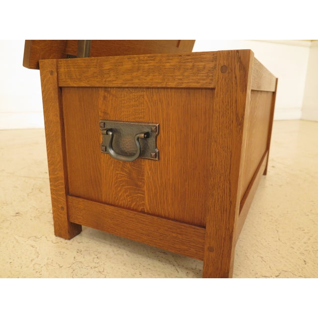 Arts & Crafts Stickley Inlaid Top Oak Blanket Chest For Sale In Philadelphia - Image 6 of 13