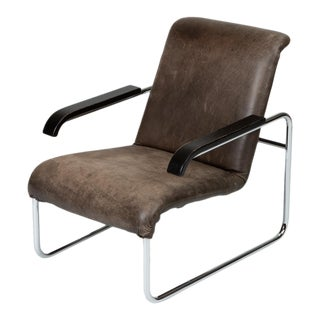 B35 Lounge Chair With Leather Cushion by Marcel Breuer for Thonet For Sale