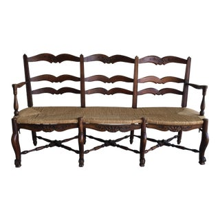 20th Century French Provincial Rattan and Walnut Settee For Sale