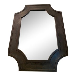 Vincent Zinc Mirror Hand Finished Rectangular With Curved Corners For Sale