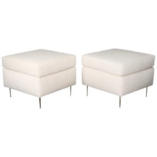 Pair of Italian Mid-Century Modern White Boucle Ottomans on Brass Legs For Sale