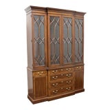 Image of Chippendale Style Banded Mahogany Breakfront China Cabinet by White of Mebane For Sale
