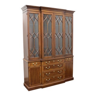 Chippendale Style Banded Mahogany Breakfront China Cabinet by White of Mebane For Sale