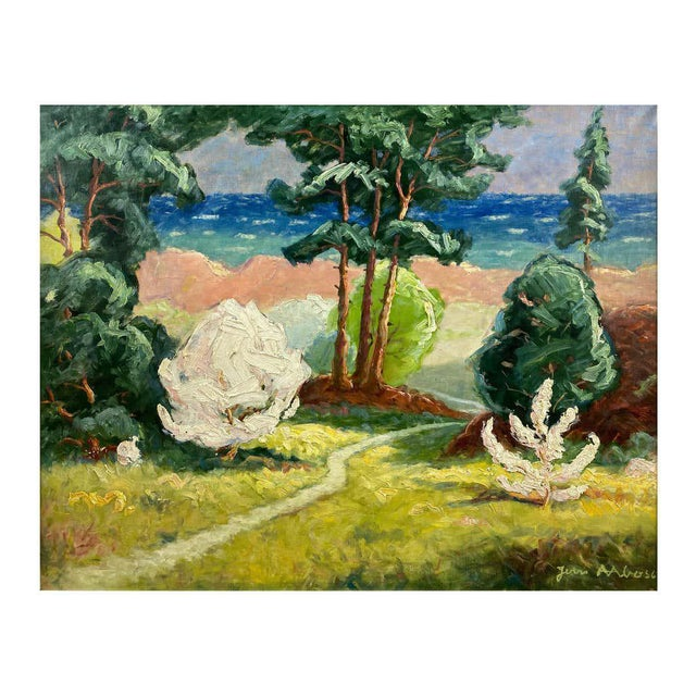 """Jens Aabo """"Danish Coastal Pathway"""", Impressionist Oil Painting, 1956 For Sale"""