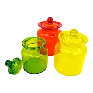 Vintage Glass Apothecary Jars - Set of 3