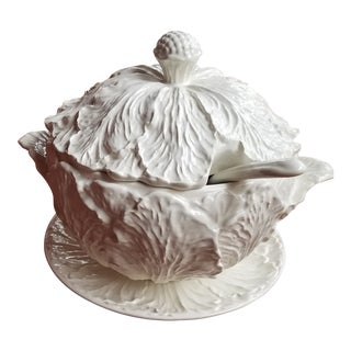 1950s Blanc De Chine Pottery Cabbage Leaf Soup Tureen With Ladle and Underplate For Sale