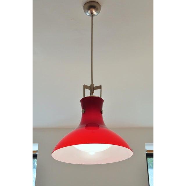 Italian Studio Venini Red Pendant, Murano Italy 1950s For Sale - Image 3 of 6