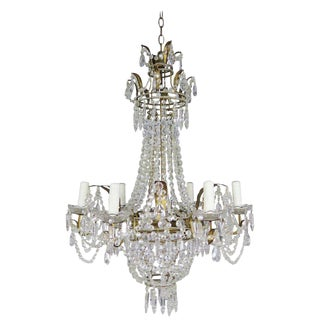Six Light French Gilt Metal Crystal Beaded Chandelier, Circa 1900s For Sale
