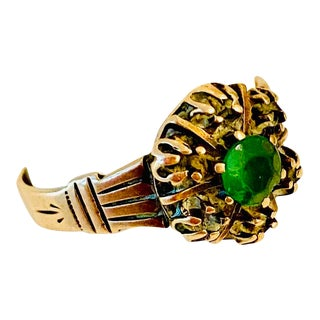 Victorian 14 Karat Rose Gold and Natural Emerald Ring Size 6.5 For Sale