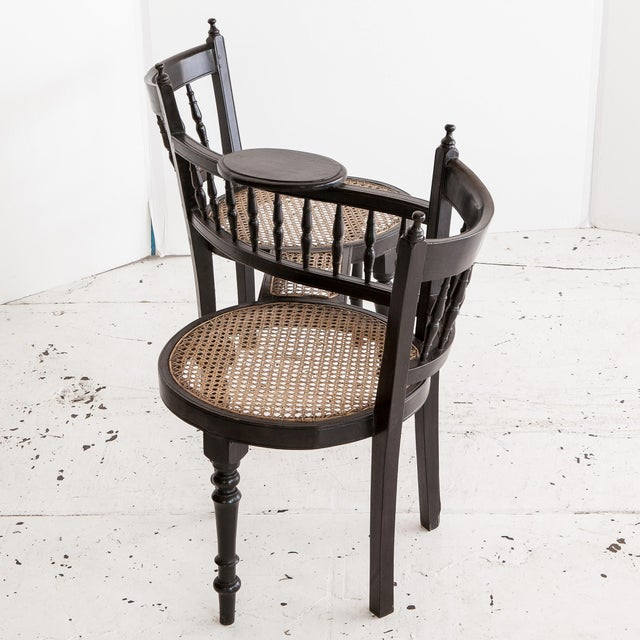 Anglo-Indian Tete a Tete Chair - Image 2 of 3