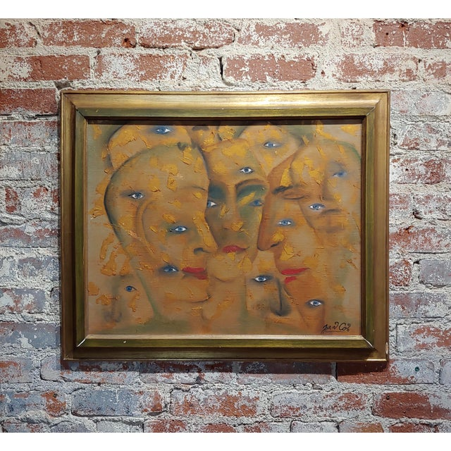 Many Eyes & Faces Cubist Oil Painting Signed by Janco For Sale - Image 12 of 12