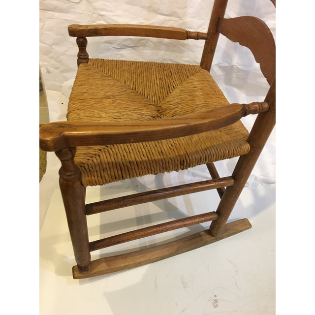 Vintage Rush Seat Rocking Chair For Sale In New York - Image 6 of 9