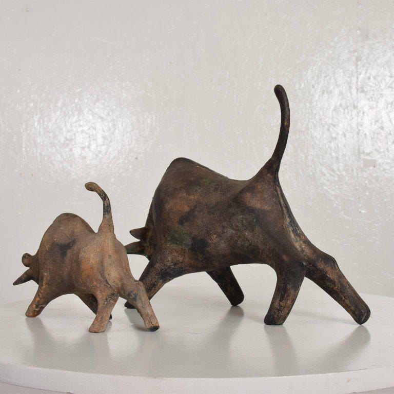 1960s Pair Of Mid Century Modern Bull Table Sculptures, Iron, Japan For Sale