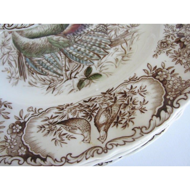 White Mid 20th Century Johnson Brothers Wild Turkeys Native American Dinner Plates - Set of 6 For Sale - Image 8 of 11