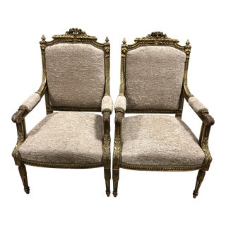 C.20 Ornate Louis XVI Neoclassical Arm-Chairs - a Pair For Sale