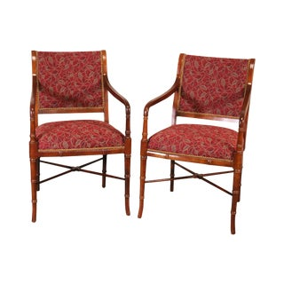 Faux Bamboo Custom Upholstered Pair Armchairs For Sale