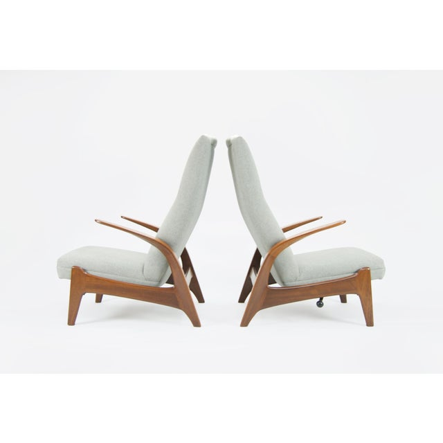 Stunning pair of Norwegian produced Rock N Rest armchairs designed by Adolf Relling and Rolf Rastad for Gimson & Slater....