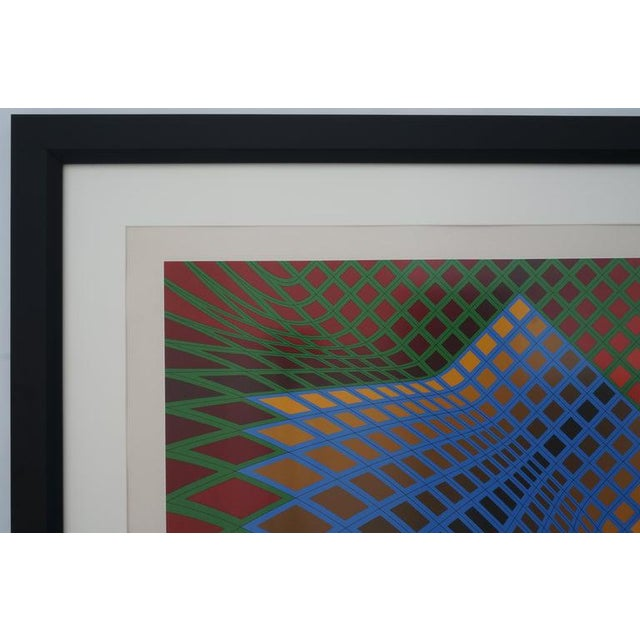 Vintage Vasarely Pencil Signed and Numbered Limited Edition 67/250 Op Art Original Print Custom Framed For Sale In West Palm - Image 6 of 11