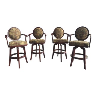 4 Swivel Barstools Mahogany For Sale