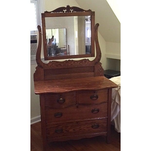 Victorian Oak Dresser With Mirror - Image 2 of 4