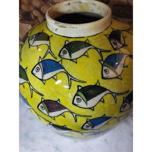 1960s Contemporary Persian Large Yellow Ceramic Fish Vase For Sale - Image 4 of 13