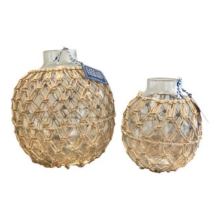 Contemporary Rope and Glass Ball Vases - a Pair For Sale