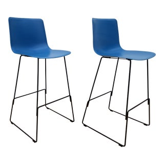 "Welling Ludvik Fredericia "" Pato Chair "" Blue Bar Stools - a Pair For Sale"