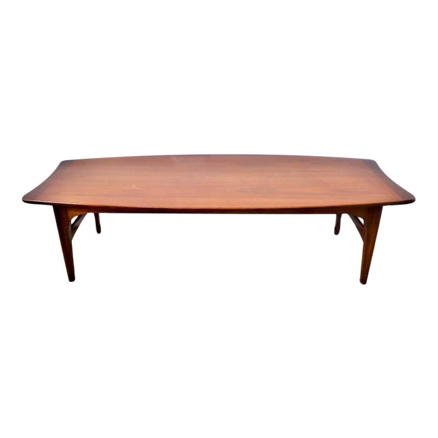 Solid Wood Mid Century Coffee Table: 1960s Mid-Century Modern Solid Wood Surfboard Shaped