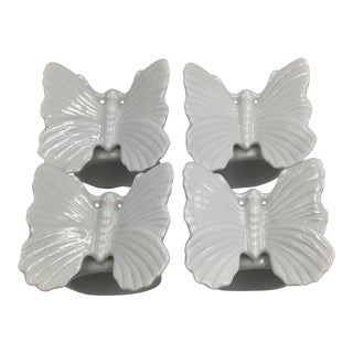 Vintage Fitz & Floyd Ceramic Butterfly Napkin Holders Rings - Set of 4 For Sale