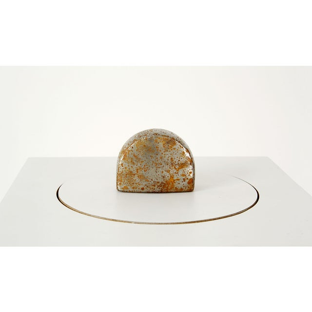 Industrial Oxidized Steel Paperweight For Sale - Image 3 of 4