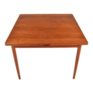 Square Danish Modern Draw Leaf Dining Table in Teak For Sale