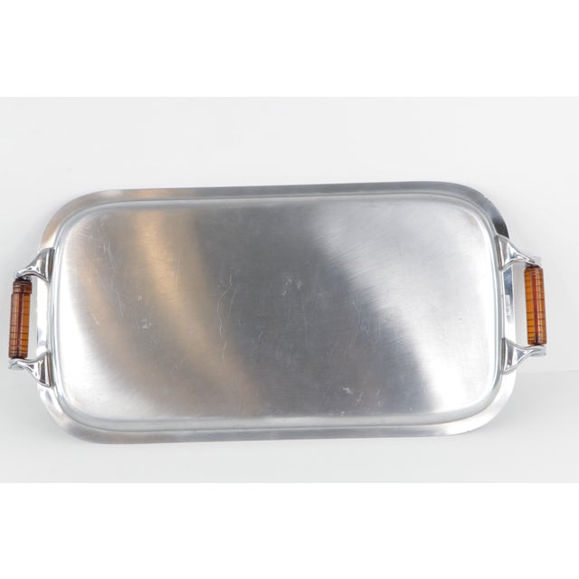 Metal Vintage 1960s Mid-Century Modern Manning Bowman Amber Lucite Handled Silver Tray For Sale - Image 7 of 9