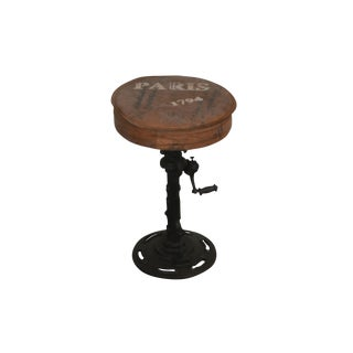Industrial Style Iron Round Adjustable Gear Stool For Sale