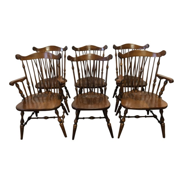 Temple Stuart Rockingham Windsor Dining Chairs -Set of 6 For Sale