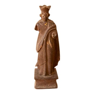 18th Century Hand-Carved Wood Religious Statue For Sale