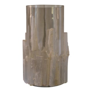 John Richard Large Natural Selenite Candle Holder For Sale