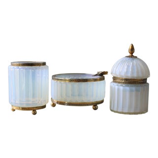 Vintage Murano Opaline and Brass Ormolu 3-Piece Smoke Set by Fratelli Toso For Sale