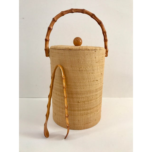 Vintage Grasscloth Ice Bucket With Faux Bamboo Tongs - A Pair - Image 3 of 7